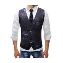 Vintage Floral Pattern Single Breasted Buckle Back Purple Slim Fit Suit Vest for Men