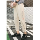 Mens Street Style Fashion Embroidered Velcro Cuff Patched Casual Linen Tapered Pants