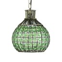 Green/Blue/Colorful Pendant Lamp Single Light Vintage Crystal Pendant Lighting for Bedroom