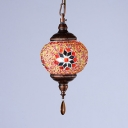 Traditional Globe Hanging Lamp Mosaic Single Light Pendant Lighting for Living Room
