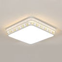 White Square LED Flush Mount Light Acrylic Modern Ceiling Lamp with Clear Crystal Decoration for Living Room