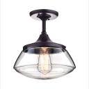 Industrial Schoolhouse Glass Shade Pendant Light for Kitchen Lighting, 10.5