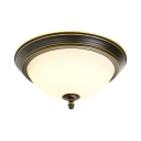 White Glass Bowl Ceiling Light 1 Light Industrial Rustic Flush Mount for Bedroom