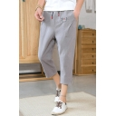 Men's New Stylish Butterfly Embroidered Drawstring Waist Cropped Linen Tapered Pants