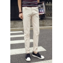 Guys Spring New Fashion Simple Plain Rolled Hem Tailored Chino Trousers