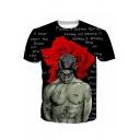 Popular American Rapper Floral Figure Allover Letter Print Black Short Sleeve T-Shirt
