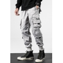 Hip Hop Style Simple Letter PROBLEM Pocket Side Gathered-Cuff Sport Track Pants Cargo Pants