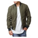 Mens Classic Stand-Collar Long Sleeve Zip Up Fitted Bomber Jacket