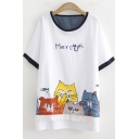 Cat Letter Printed Bow Lace Patched Round Neck Short Sleeve Longline Relaxed Cotton T-Shirt