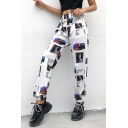 Women's Fashion Letter Figure Printed Elastic Waist Loose Fit White Track Pants