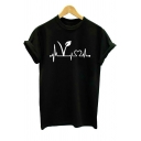 Funny Heart Printed Round Neck Short Sleeve Casual Black T-Shirt