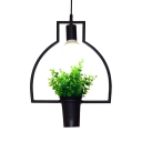 Industrial Flower Pot Ceiling Pendant Light Length Adjustable Metal Single Light Pendant Lamp for Kitchen