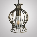 Cage Shape Pendant Lighting Single Light Length Adjustable Vintage Hanging Lamp in Brass
