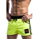 Mens Drawstring Waist Contrast Striped Side Mesh Patch Sports Swim Shorts for Men