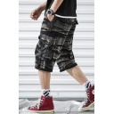 New Trendy Camo Printed Flap Pocket Side Mens Casual Military Cargo Shorts