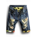 Guys Unique Camo Printed Rolled Cuff Destroyed Ripped Slim Fit Indigo Denim Shorts