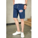 Cartoon Letter POW Printed Mens Dark Blue Loose Fit Denim Shorts
