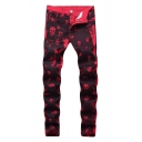 Hot Fashion Cool Allover Skull Printed Men's Red Stretch Slim Fit Jeans