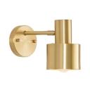 Brass Cylinder Wall Mount Light 1-Bulb Modernism Metal Wall Light in Brass for Bedroom