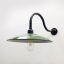 Industrial Saucer Wall Lamp Single Light Metal Wall Sconce in Green for Kitchen