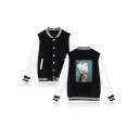 Aesthetics Trendy Single Breasted Contrast Long Sleeve Figure Floral Printed Unisex Baseball Jacket