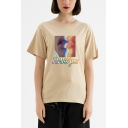 Summer New Stylish Letter I MISS YOU Lip Printed Cotton Loose T-Shirt