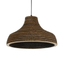 Paper Hat Hanging Pendant Lamp Country Style Restaurant Single Bulb Drop Light in Brown, 14