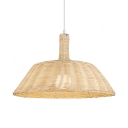 Beige Barn Shade Hanging Light Country Style Single Light Rattan Pendant Lamp for Restaurant