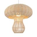 Mushroom Rattan Pendant Light for Restaurant Rustic 1 Light Hanging Lamp in Beige/Coffee
