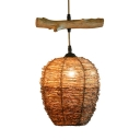 Brown Bucket Ceiling Pendant Light Rustic Rattan Single Hanging Lamp with Wood Stick