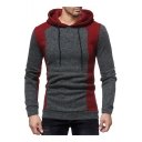 New Stylish Color Block Long Sleeve Pullover Drawstring Hoodie for Men