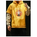 Cartoon Bird Letter Printed Long Sleeve Fake Two-Piece Hoodie for Men