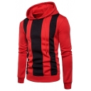 Guys Trendy Vertical Striped Long Sleeve Color Block Casual Pullover Hoodie