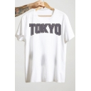 Guys Hip Hop Style Letter TOKYO Printed Round Neck Short Sleeve Cotton Leisure T-Shirt