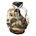 Unique 3D Figure Pattern Long Sleeve Relaxed Loose White Drawstring Hoodie