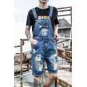 Guys American Style Vintage Destroyed Ripped Blue Denim Bib Overalls