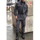 Men's Stylish Cool Stand Collar Long Sleeve Solid Color Elastic Waist Button Down Work Coveralls