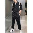 Guys New Stylish Solid Color Short Sleeve Drawstring Waist Loose Casual Work Jumpsuits Coveralls