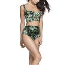 New Fashion Green Hollow Out Tropical Leaf Printed High Waist Bottom Bikini Swimwear