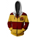 Harry Potter Series Gryffindor Men's Colorblock Long Sleeve Sports Zip Up Red and Yellow Hoodie