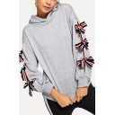 New Stylish Gray Bow Tie Long Sleeve Loose Relaxed Hoodie