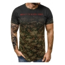 Cool Letter Camouflage Print Round Neck Short Sleeve Slim T-Shirt