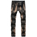 Hot Popular Vintage Washed Stretch Fit Black and Bronze Jeans for Mens