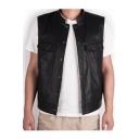 Punk Style Plain Stand Up Collar Press-Stud Closure Sleeveless Black PU Vest