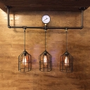 Industrial Vintage 36''W Multi Light Pendant with Metal Cage Frame in Pipe Style, 3 Light