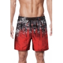 Summer New Trendy Ink Colorblock Drawstring Waist Men's Beach Red Swim Trunks