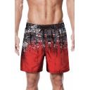 Summer New Trendy Ink Colorblock Drawstring Waist Men's Beach Red Swim Trunks