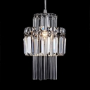 Dining Room Lighting Modern, Height Adjustable Clear Crystal Cylinder Pendant Lights in Chrome with 35.5