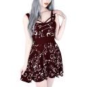 Summer Fashion Moon Pattern Sleeveless Mini A-Line Burgundy Dress