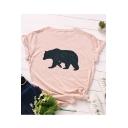 Lovely Galaxy Polar Bear Printed Round Neck Short Sleeve T-Shirt